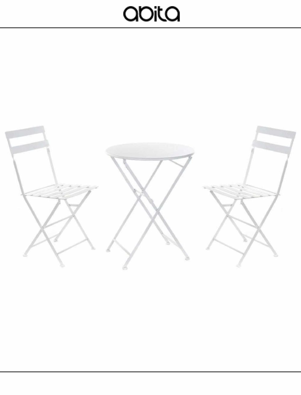 set tavolo metallo bianco pieghevole